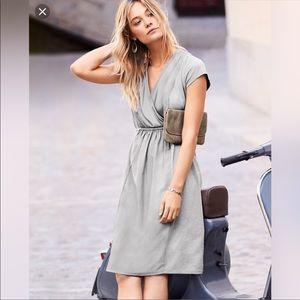 Garnet Hill Gray Organic Cotton Silk Panel Dress M